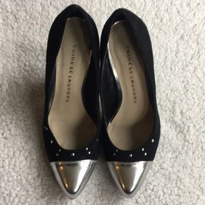 Chinese Laundry Shoes - Silver toe pumps